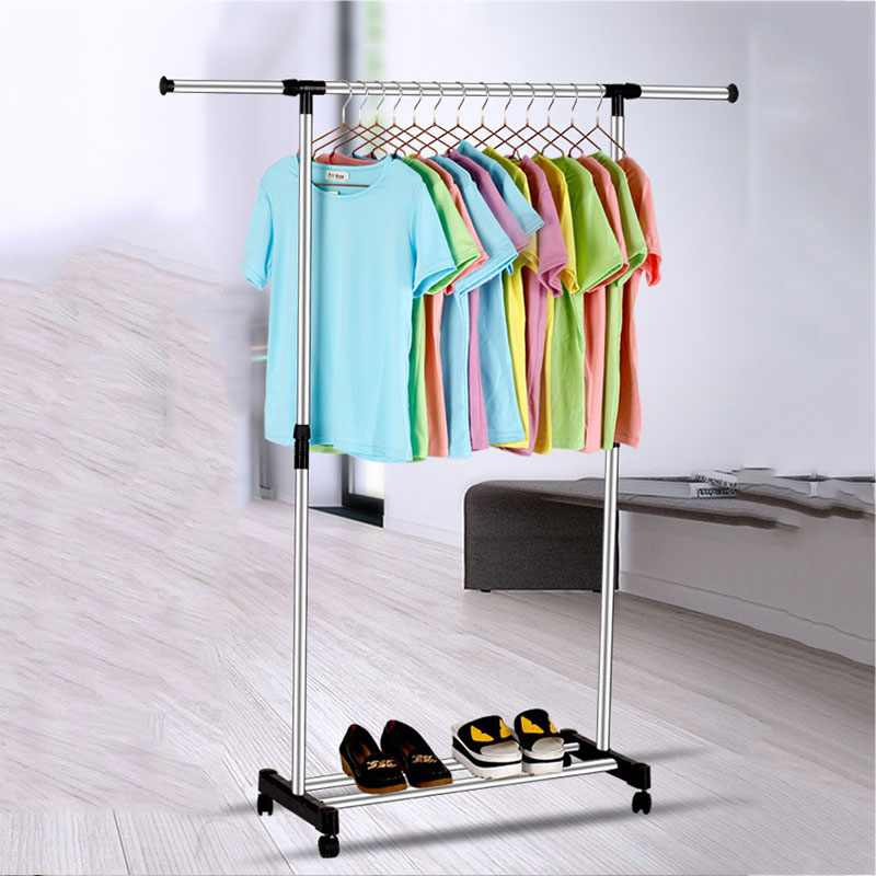 Multifunctional Stainless Steel Adjustable Floor Standing Drying Rack Stand Coat Rack Shoe Rack  With Wheel With Many Size