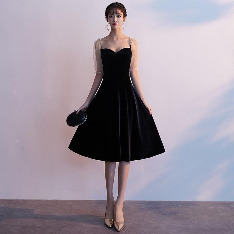 2019 robes de bal noir Zipper lanterne manches demi manches robes de soirée élégant v-cou fermeture éclair courte formelle femmes robe de soirée E054