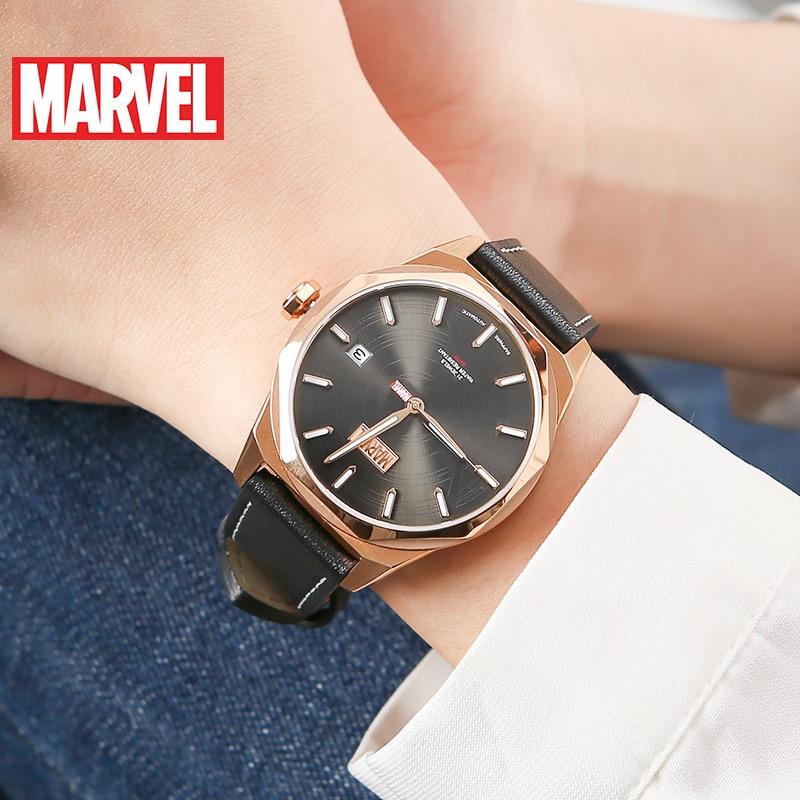 Disney OFFICIAL AUTHORIZED Marvel Avengers WOMen Luxury Sapphire Full Steel Automatic Self-wind Waterproof  Wristwatch Leather