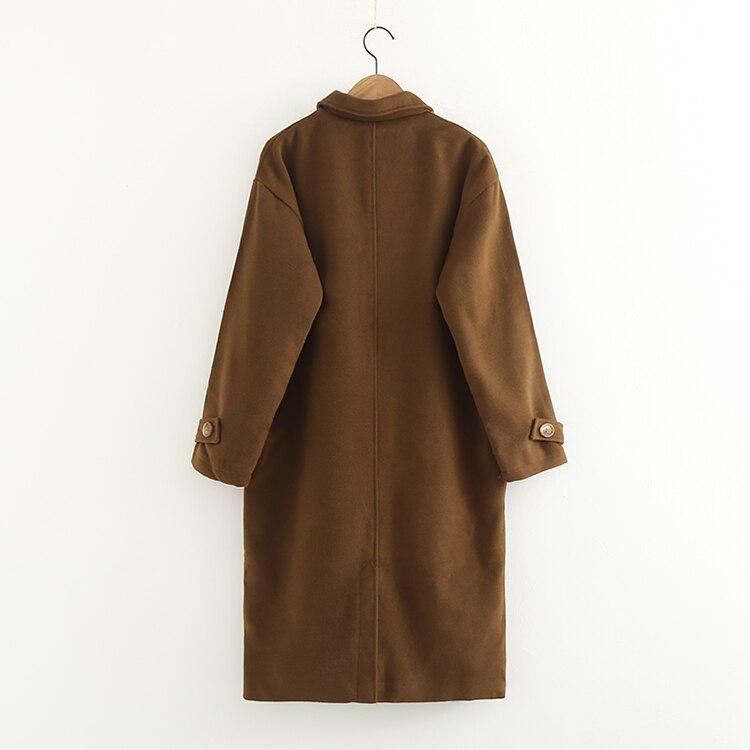 Hiver q Mêle Broderie Manteaux Poches Laine Mince Manteau Femmes 2017 Design Hi Brun Mode Marron Vêtements Femelle Nouveau f5wW4qgwd