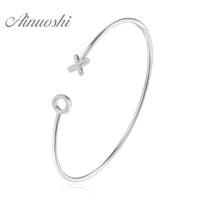 AINUOSHI 14K Gold Natural Diamond Open Bracelet 14K White Gold /Yellow Gold /Rose Gold XO Letters Bangle Elegant Female Jewelry