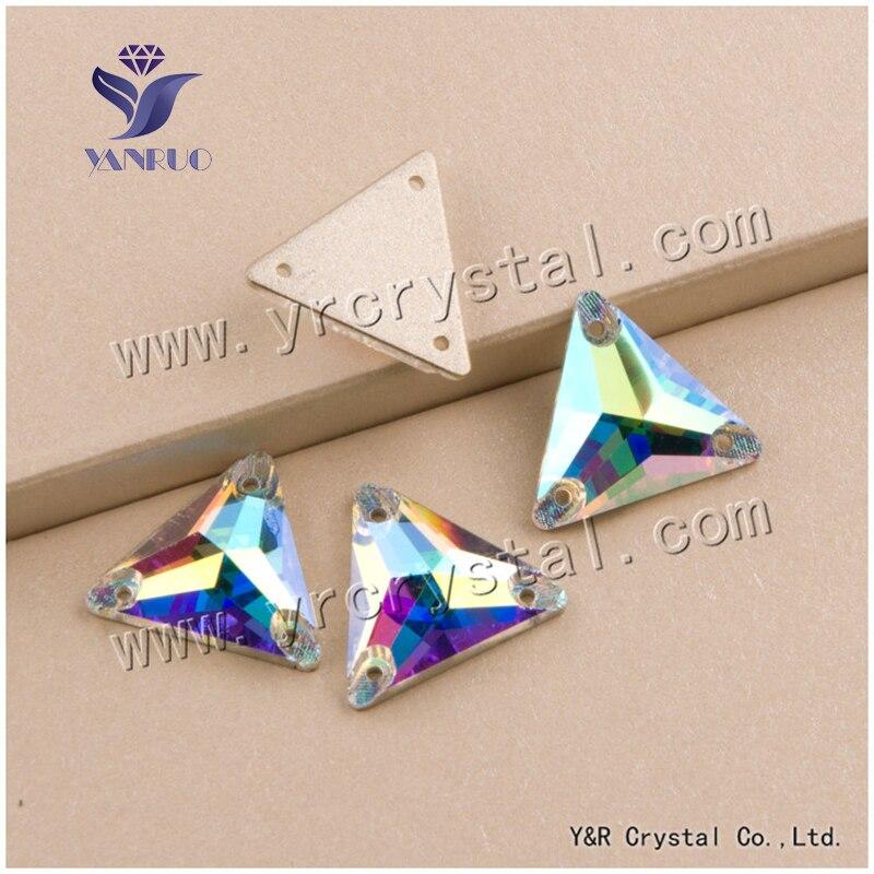 YANRUO #3270 16mm 72 Adet Üçgen Yüksek Kalite Kristal Flatback Dikiş Boncuk Rhinestone Strass Cam Dikmek Için el sanatları