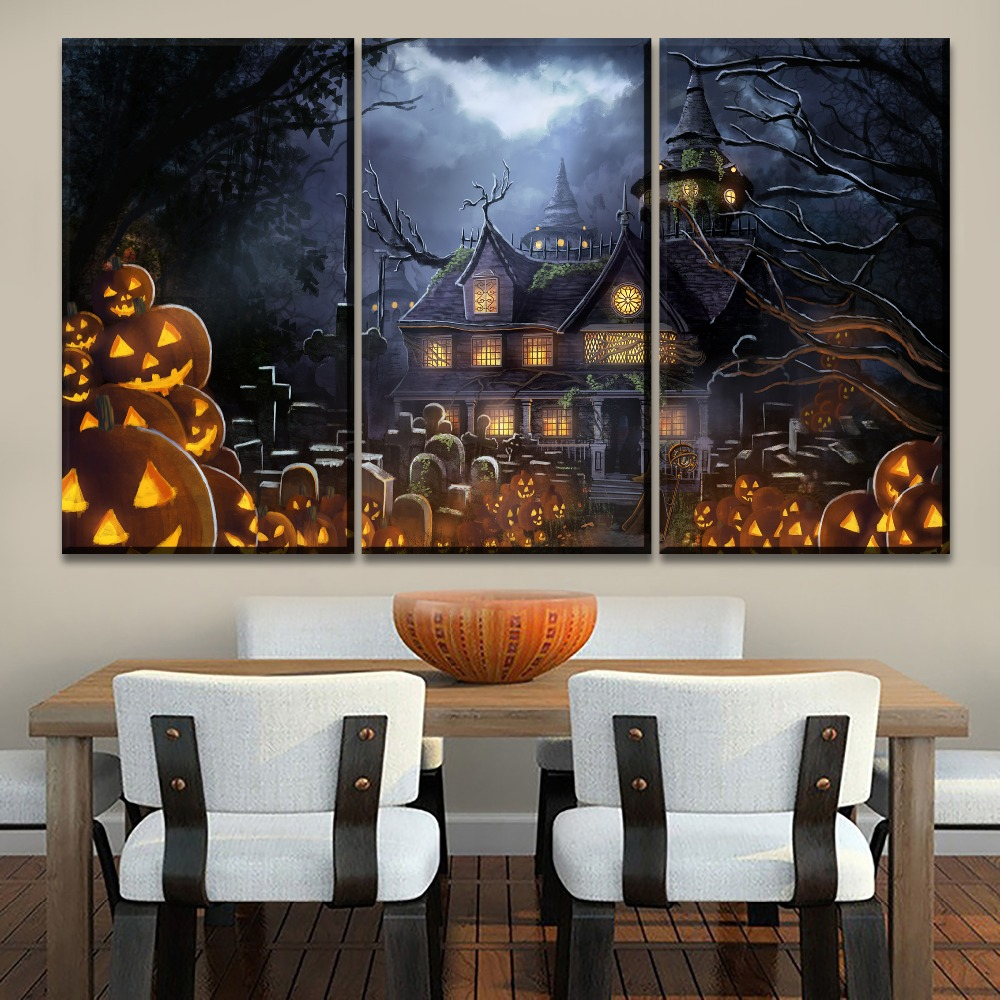 Home Wall Decorative Halloween Haunted House Painting On