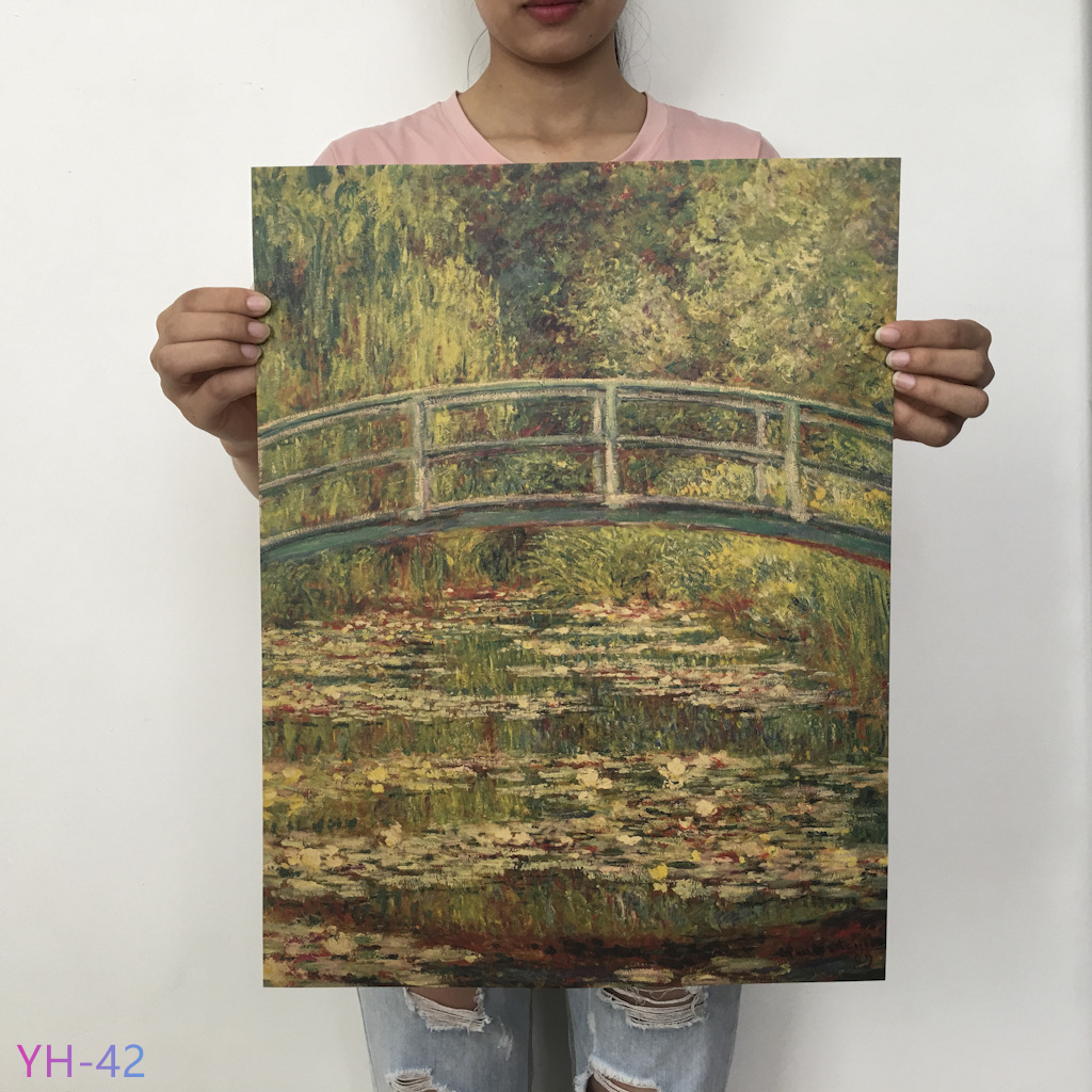 Плакат маслом Ван Гога Мона, Винтажный Классический крафт-бумага, плакат, живопись, наклейки на стену, домашний декоративный YH-31-42