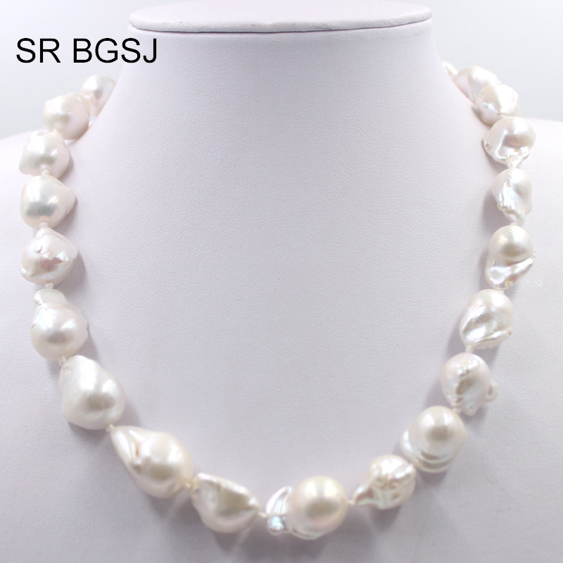 Livraison gratuite 12-18mm haute qualité blanc de culture véritable Baroque perle gros tour de cou blanc perle collier 17.5