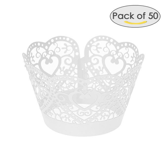 50pcs//set Paper Cupcake Wrappers  Cut Lace Cake Cup Liners Trays D1T3