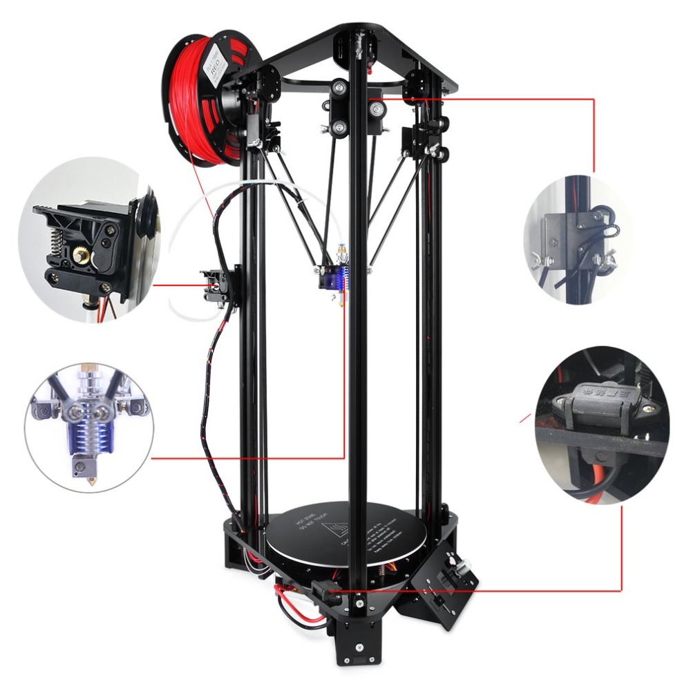 3D Printer For Kossel Linear Delta Large Printing Size LCD Screen Printer DIY Kit EU
