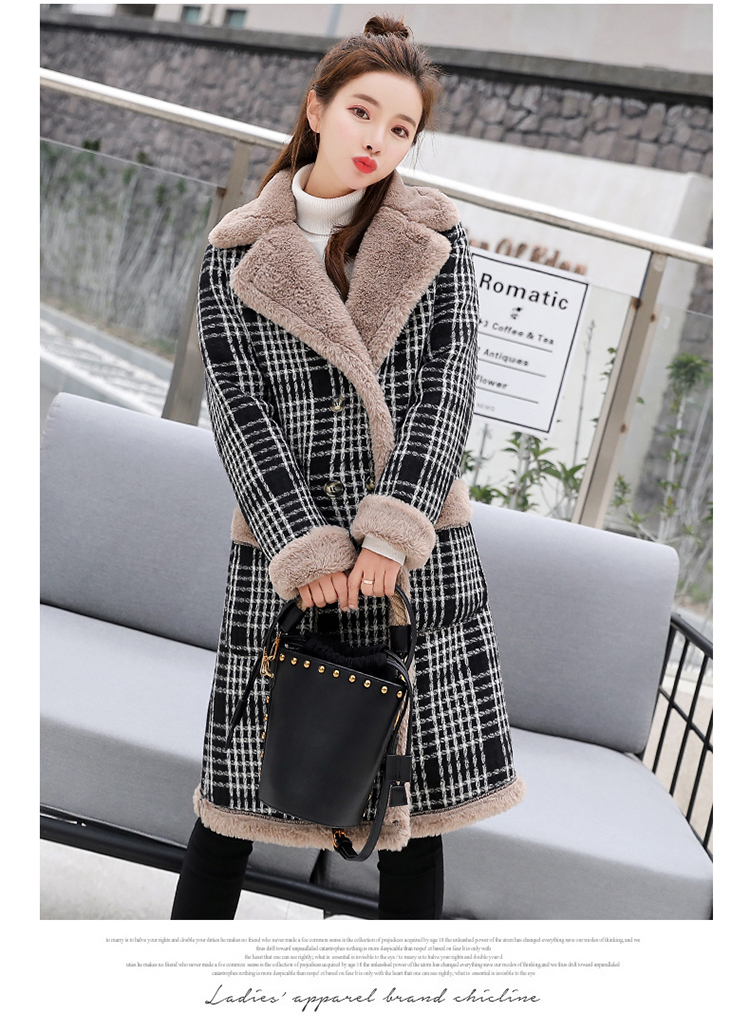 Lamb fur-padded 2018 winter women's new loose-fitting mid-length padded check wool coat, cotton-padded jacket 5
