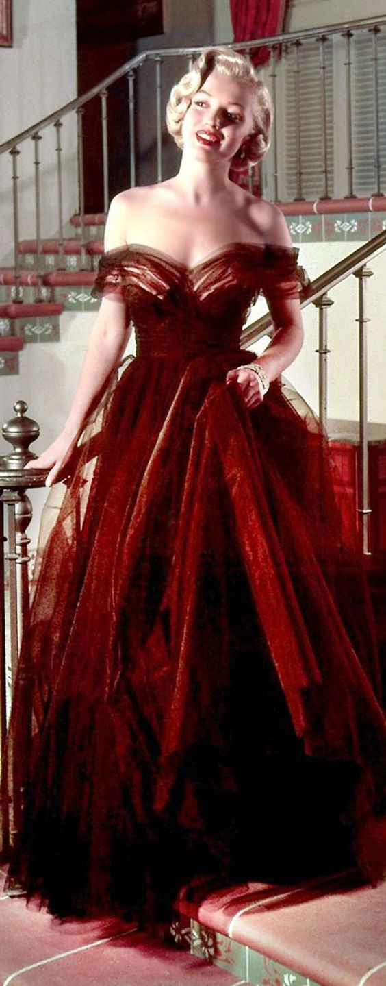 2017 Classic Inspired by Marilyn Monroe Celebrity Dress Dark Red Off ...