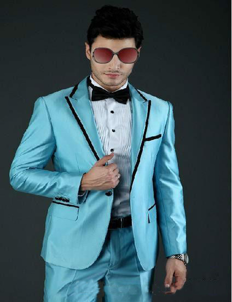 Custom Made tuxedo jacket men suit 2017 Groom Tuxedos light blue ...