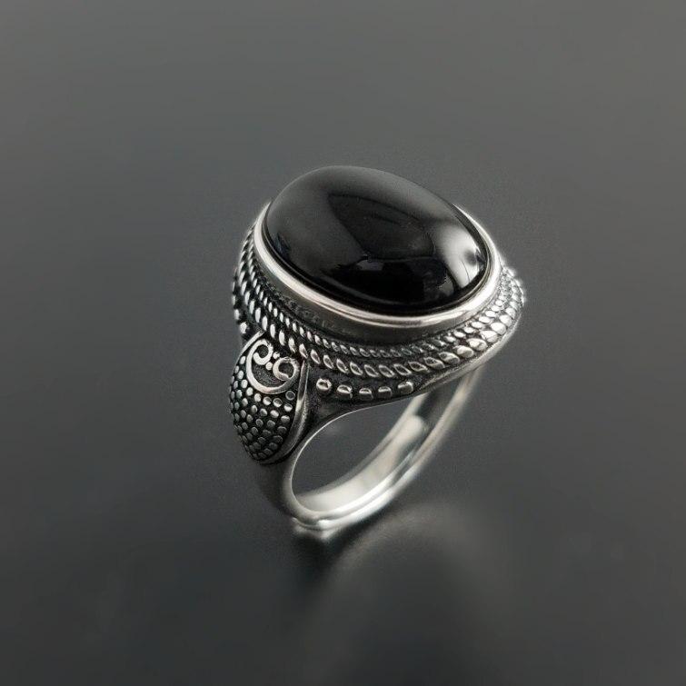 Винтаж чистого серебра 925 Овальный черный натуральный камень оникс Кольца Для мужчин Для женщин с милой совой манжеты Группа реальные 925 про...
