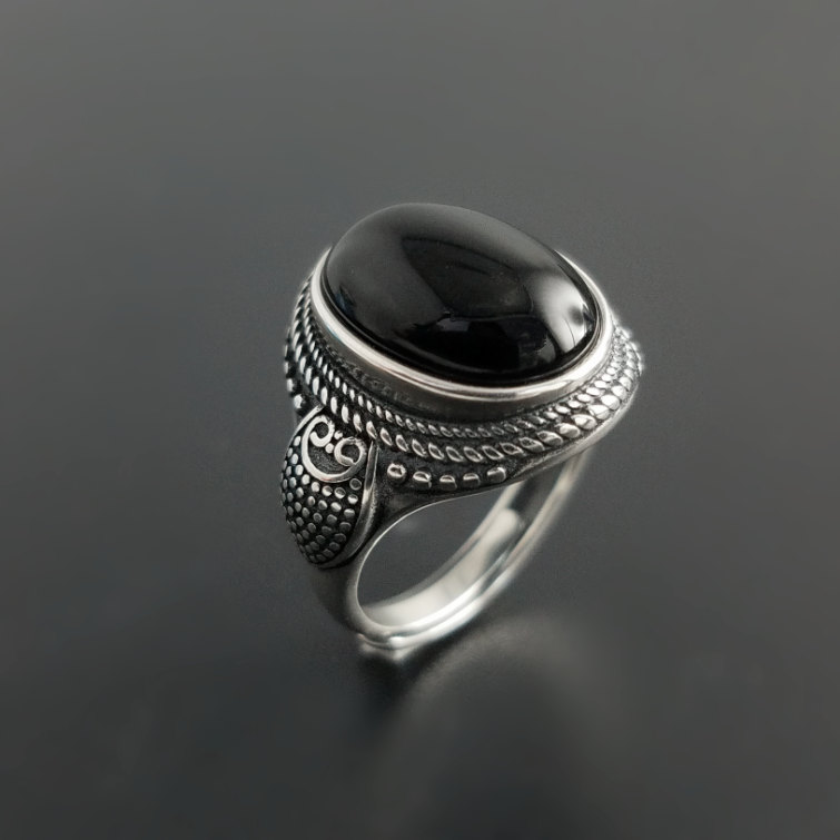 Vintage Solid Silver 925 Oval Natural Black Onyx Stone Rings Men ...