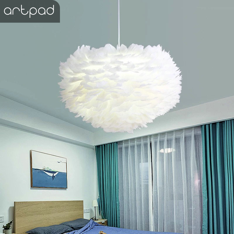 Artpad White Feather Pendant Light With E27 Bulb Included Living Room Bedroom Wedding Hanging decor Droplight Home Lighting