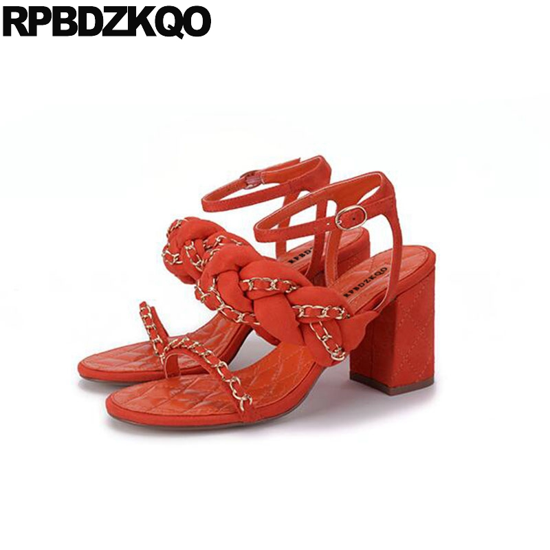034253fad Block Open Toe Heels Black Thick Orange Designer Shoes Chain Runway Sandals  Pumps Slingback Women High Ankle Strap 2018 Square