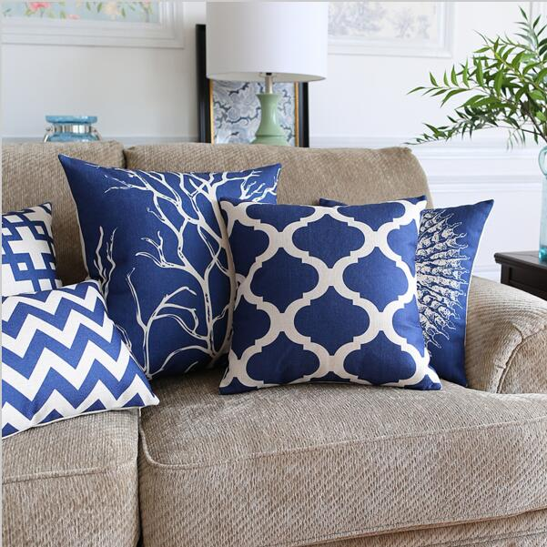 navy blue coral cushion cover marine geometric chair couch
