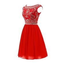 Kurze Brautkleider 2016 Elegante U-ausschnitt Flügelärmeln Perlen Low Back Mini Homecoming Kleid Formales Partei-kleider Vestidos