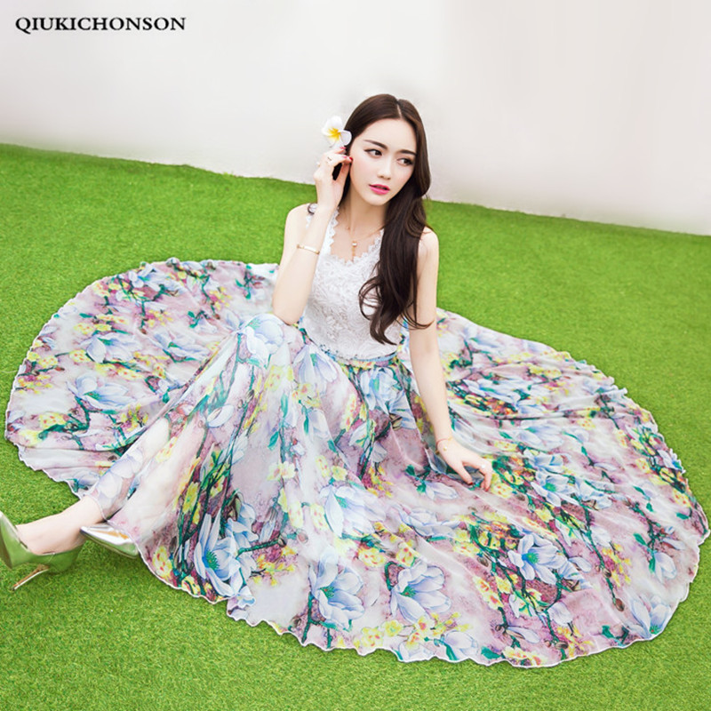 Summer Long Maxi Skirts for Women Bohemian Style Ladies A line Big Circle Floral Chiffon Skirt Plus Size jupe longue boheme