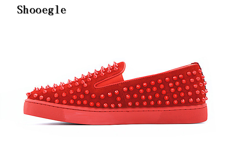 SHOOEGLE New Red Suede Spikes Leather Men's Flat Casual Shoes Moccasins Rivets Loafers High Quality Shoes Men Driving Shoes Man men s full grain leather shoes casual crocodile driving shoes slip on boat shoes fashion moccasins for men s loafers new quality