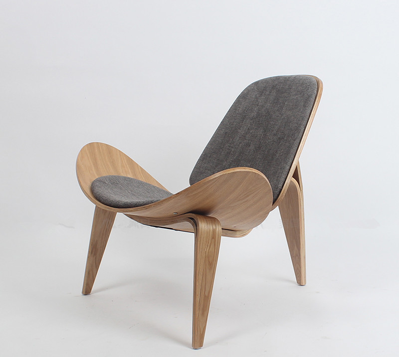 Hans Wegner Style Three-Legged Shell Chair Ash Plywood Fabric Upholstery Living Room Furniture Modern Lounge Shell Chair Replica