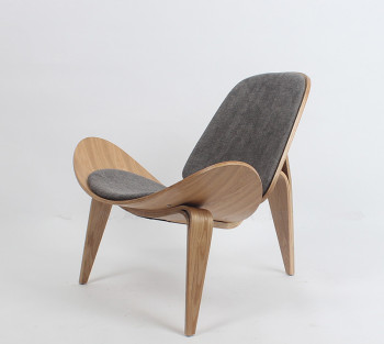 Hans Wegner Style Three-Legged Shell Chair Ash Plywood Fabric Upholstery Living Room Furniture Modern Lounge Shell Chair Replica hans wegner style three legged shell chair ash plywood black finish leather seat living room furniture modern lounge shell chair