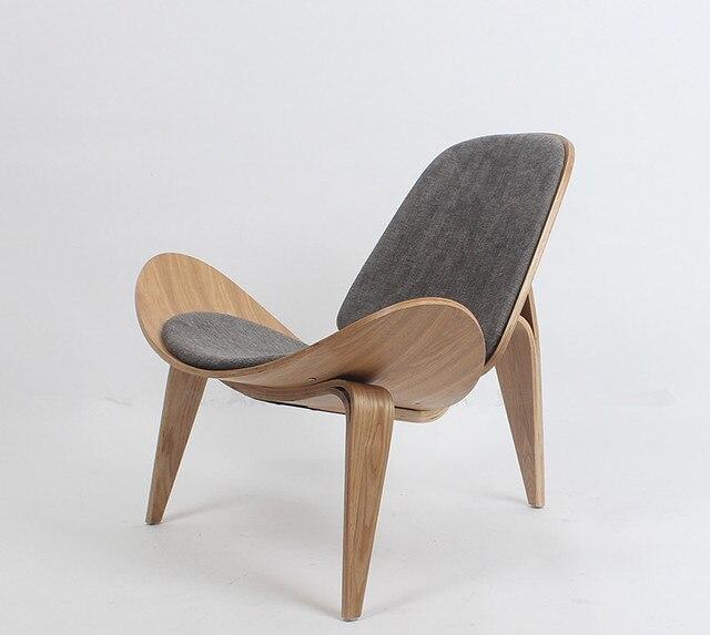 shell chair replica desk teen hans wegner style three legged ash plywood fabric upholstery living room furniture modern lounge