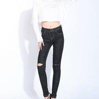 SEJIAN כותנה טהורה של 2017 נשים אופנה ג 'ינס אמצע מותניים מזדמנים נשים מכנסיים עיפרון ג' ינס סקיני ג 'ינס נשים מכנסיים S16802