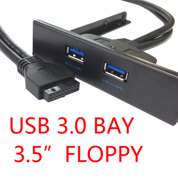 U3-096 New Motherboard  20 Pin to USB 3.0 two 2 Ports Front Panel Bracket Cable for 3.5 Floppy Internal Disk Bay 0.5m 1 pcs usb 3 0 20 pin 2 ports front panel floppy disk bay hub bracket cable