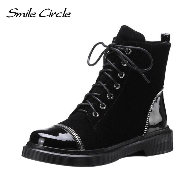 Sorriso Cerchio Donna Scarpe Genuino stivali di Pelle di Alta Qualità Nero di Modo della Chiusura Lampo di Stile Punk Stivaletti invernali Scarpe Da Donna
