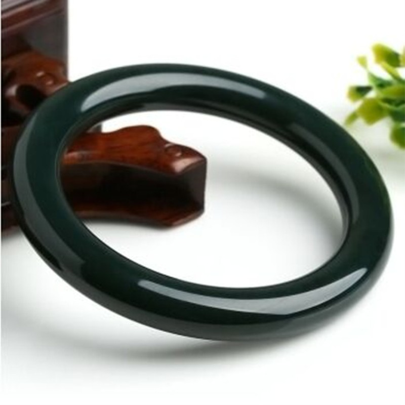 Certificate High Quality Natural Deep Green Stone narrow side Bracelet Bangle Bracelet Pretty Women's Jewelry top quality 100% natural dark green hetian stone bangle 2018 new narrow side women s gift bracelet nephrite qing jades jewelry