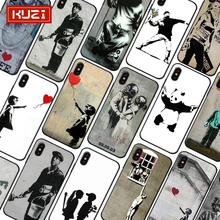 KUZI Street Art Banksy Fashion Style Luxury Case for IPhone X XS 8 7 6 S Plus TPU Silicone Cover Coque
