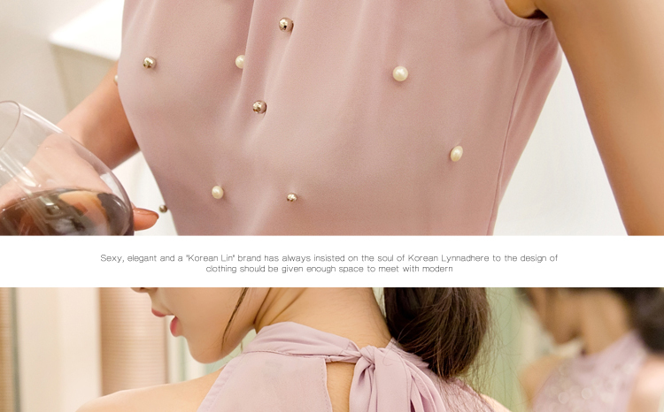 Korean Beading Sleeveless Turtleneck Women's Top