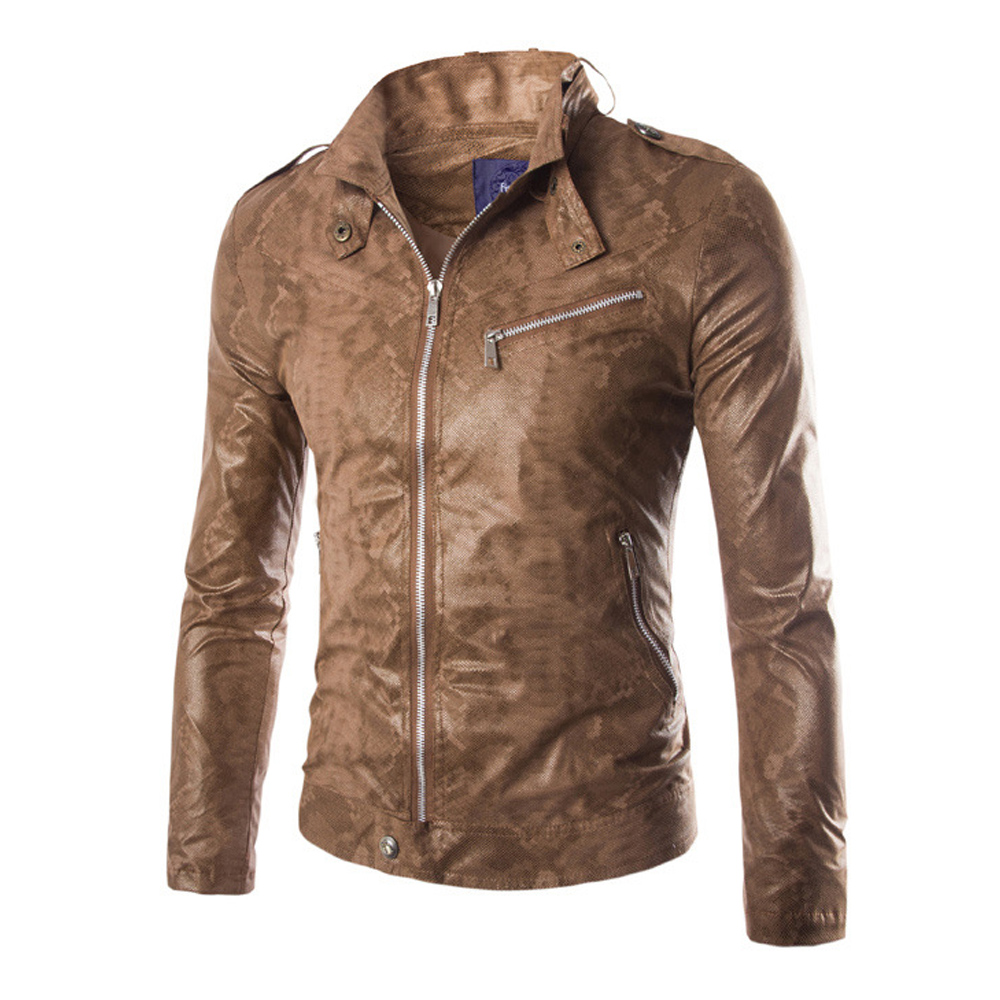 Herobiker Motorcycle Jackets Men Vintage Retro PU Leather Jacket Windproof Biker Classical Stand Collar Slim Fit Moto Jacket pu leather spliced stand collar zip up jacket