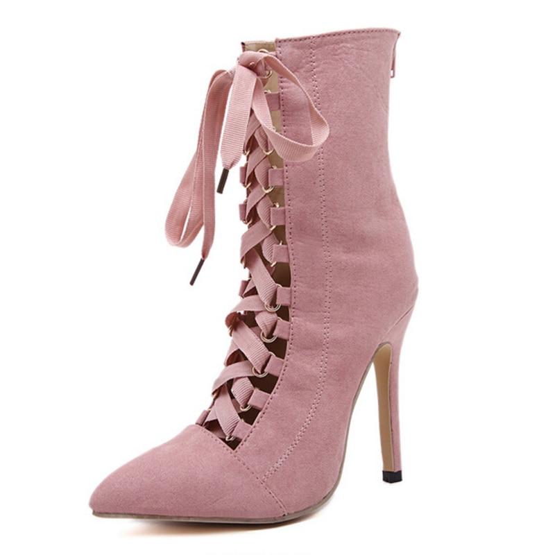 Hasta Negro Mujeres Altos Sandalias rosado Hueco Mujer Rosa Tacones Cm Bombas Extremo 12 Moda Scarpins Verano 2018 leather Señora Encaje Boda Zapatos HqwgTH