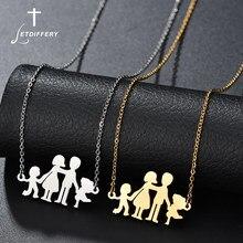 Letdiffery Baba Anne Oğul Kızı Aile Aşk Kolye Paslanmaz Çelik Zincir Kolye Kadın Erkek Ebeveynler Çocuklar Moda Hediye