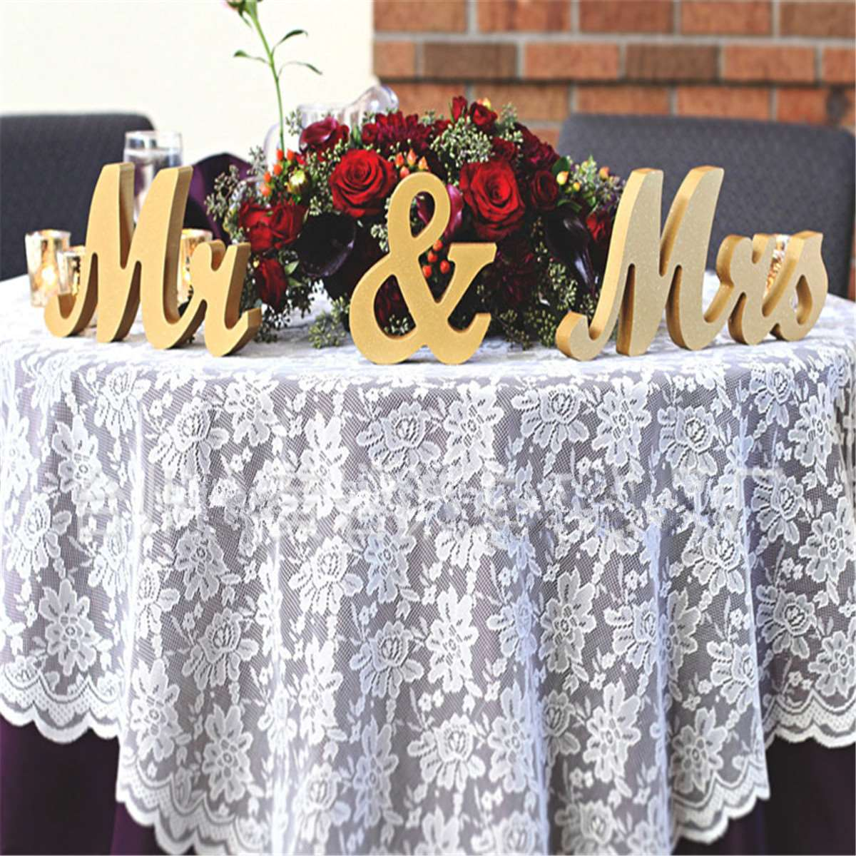 Gold wooden mr mrs standing letters wedding table for Letter g decoration