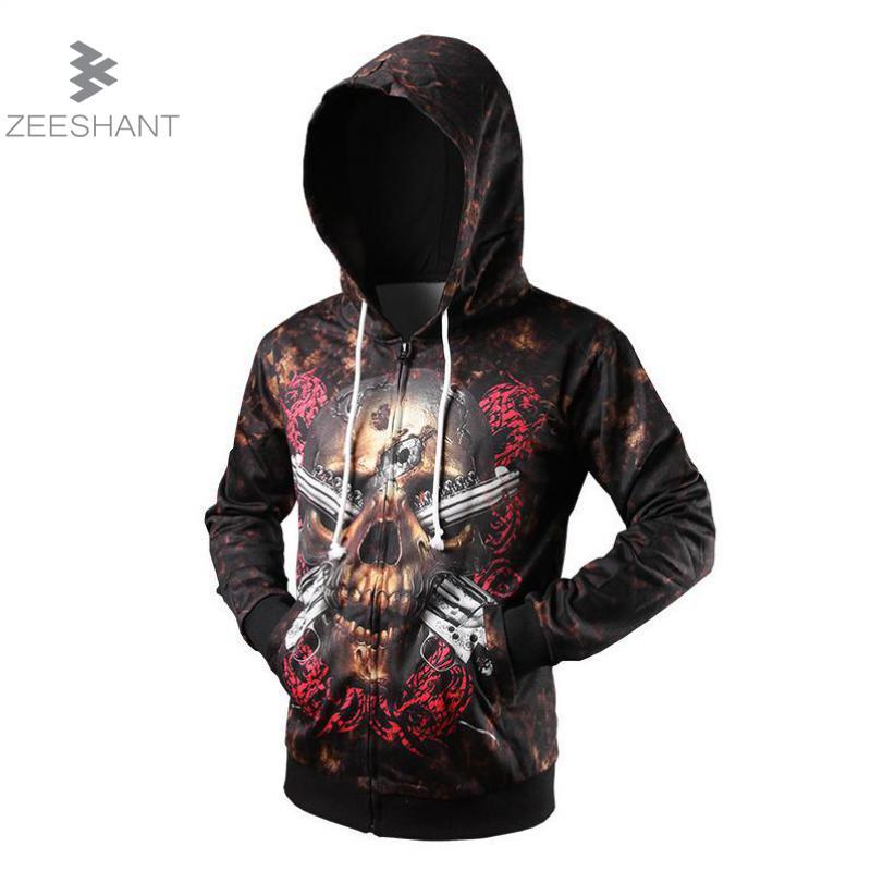 ZEESHANT 2017 Hoodies Men Sudaderas Hombre Hip Hop Mens Brand Skull Hooded Zipper Hoodie Sweatshirt Men