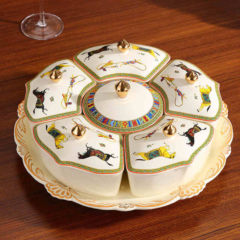 Bocal de bonbons avec couvercle en céramique 360 degrés rotatif boîte de fruits Secs Collation plateau De Stockage boîte organisateur Boîtes De Rangement et Bacs