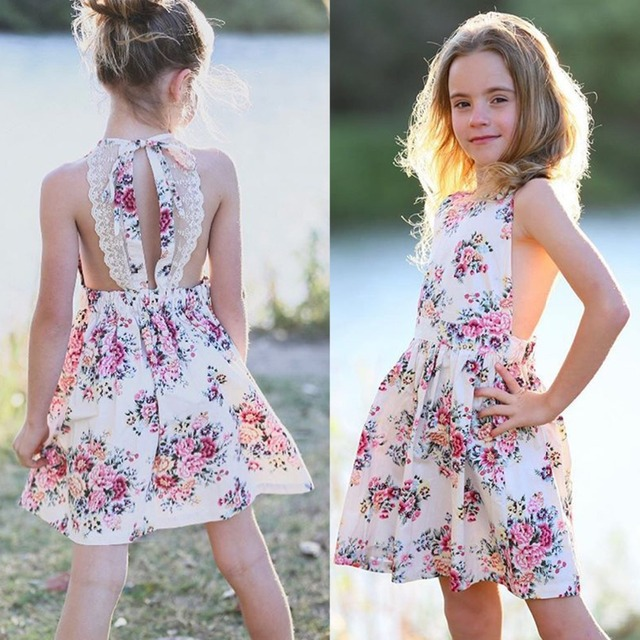 ebb01fb08577 Baby Girl Clothes Lace Up Floral Printed Cotton Children Toddler Girls  Dresses Summer 2019 Casual Princess Teenage Kids Dress