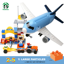 Large Size Happy Airport Plane Building Blocks Baby 2-5 years Constructor set  Duplo Sized Bricks Toy for Children