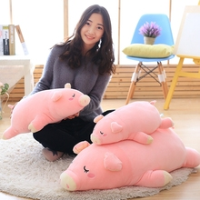 45/55/70 Cm Soft Pink Sleeping Pig Plush Toy Stuffed Cute Animal Lovely Cushion For Kids Appease Babys Room Decoration