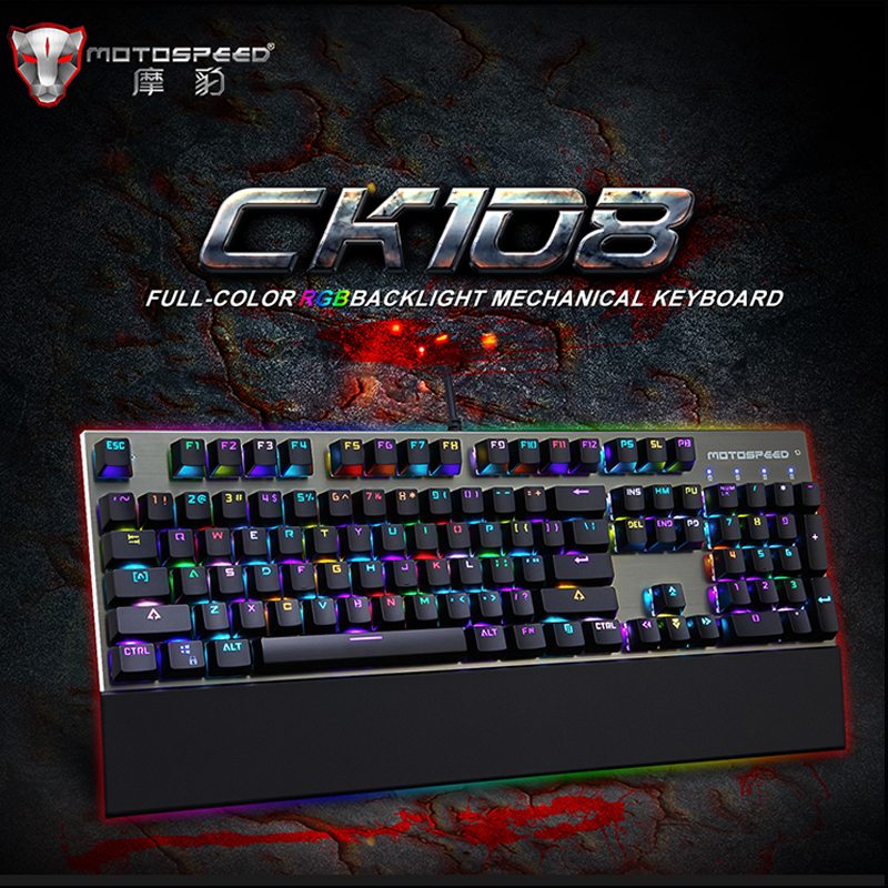 Motospeed Origiinal CK108 RGB Anti ghosting Macro Metal USB Wired Metal 104Key Mechanical backlit Gaming Keyboard
