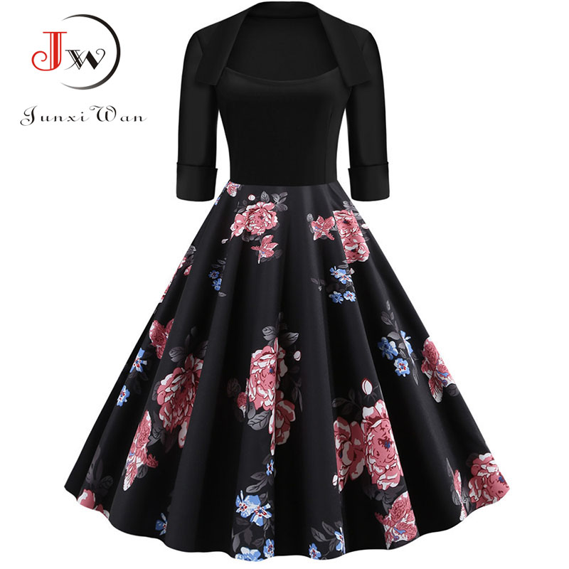 Half Sleeve Black Autumn Winter Women Dress Floral Print Vintage Party Dresses Robe Casual Rockabilly A-Line Pin Up Vestidos