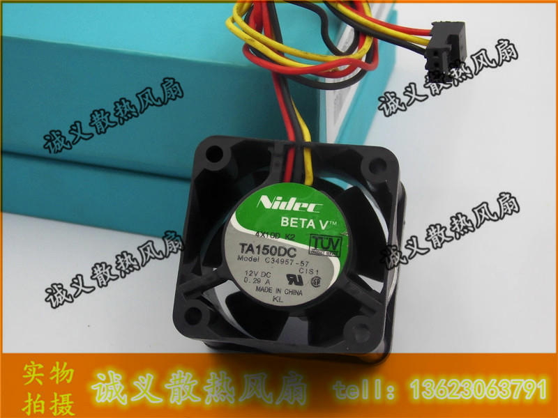 Free Shipping NIDEC cooling <font><b>Fan</b></font> 4CM 40mm 40*40*20MM 4*4*<font><b>2CM</b></font> DC 12V 1U server <font><b>Fan</b></font> C34957-57 3-wireCooling <font><b>Fan</b></font> image
