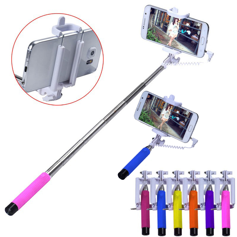 best mini portable audio cable wired selfie stick extendable monopod self stick for iphone 6. Black Bedroom Furniture Sets. Home Design Ideas