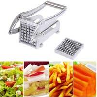 Aço inoxidável batatas fritas cortadores de batata chips tira máquina corte fabricante slicer chopper dicer com 2 lâminas cozinha gadgets
