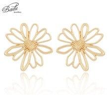 Badu Hollowing Flower Stud Earrings for Women Romantic Korean Style Gold/Silver Earring Party Jewelry Halloween Wholesale