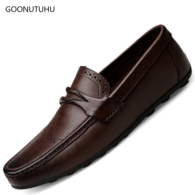 Men's Shoes Loafers Driving Platform Slip-On Big-Size Genuine-Leather Casual New Youth