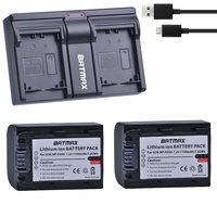 2Pcs 1100mAh NP FH50 NP FH50 NPFH5 NP FH70 FH100 Batteries + USB Dual Charger for Sony A230 A290 A390 HX100 HX200 HDR TG1E