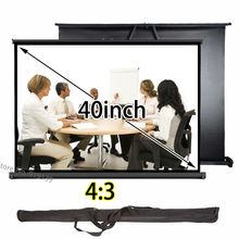 Simple Portable Projector Screen 32x24inch Viewable Pull Up Front Projection Screens Good Quality For Education