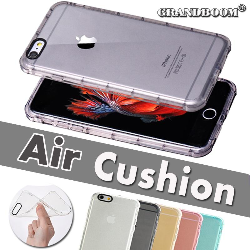 Цена за GRANDBOOM Анти-шок Прочный Гибридный Резина Воздушной Подушке Прозрачный PC Soft ТПУ телефон Задняя Крышка Чехол Для iPhone 7 plus 6 6 s 10 шт.